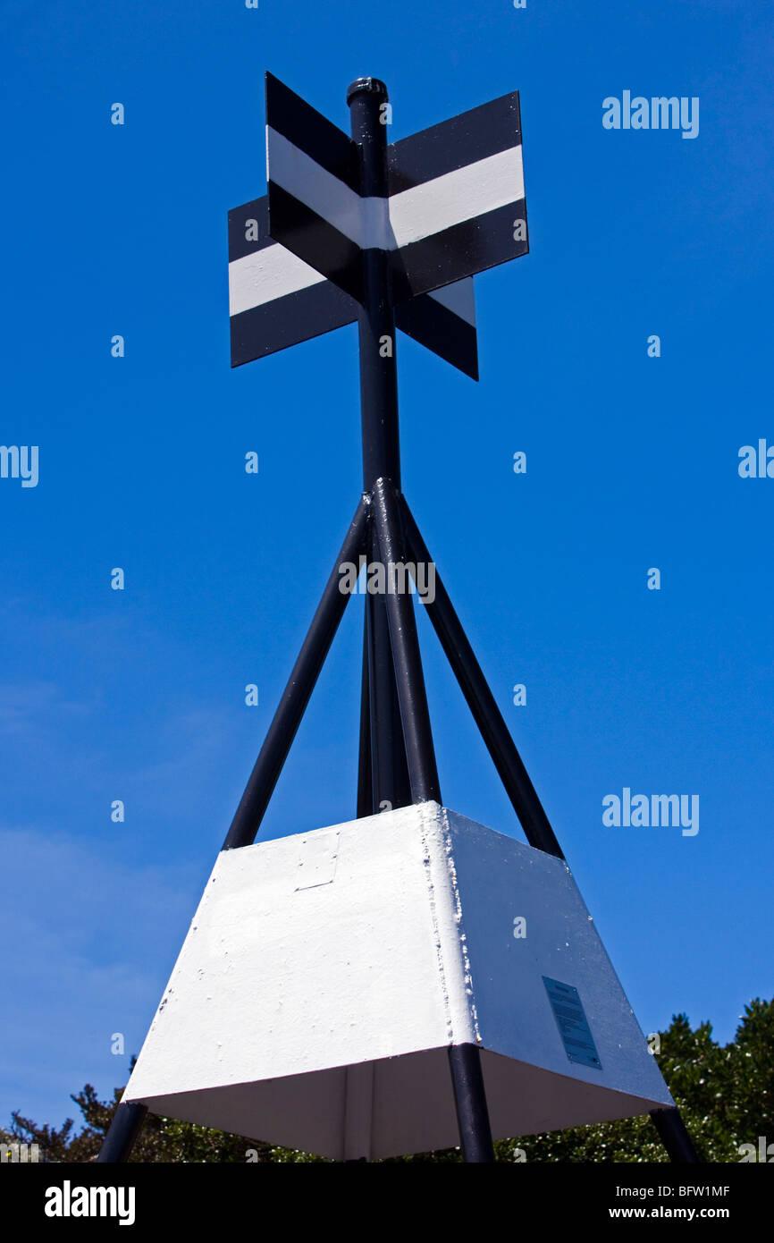 Punto de triangulación, el Monte Victoria, Devonport, Auckland, Nueva Zelanda. Imagen De Stock