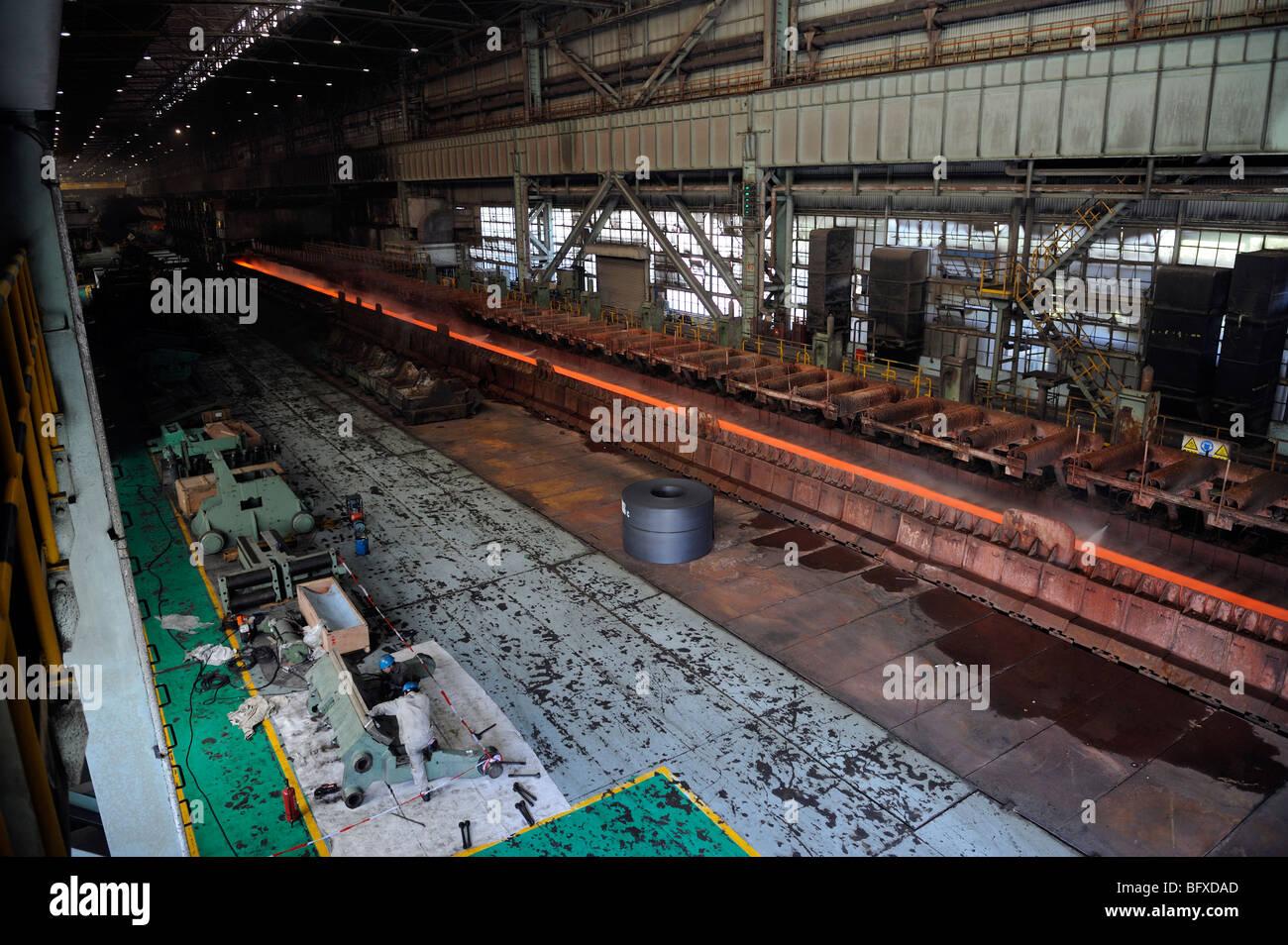 Placa de acero fundida que se está implantando en Shangai Baosteel fábrica. 20-Oct-2009 Imagen De Stock