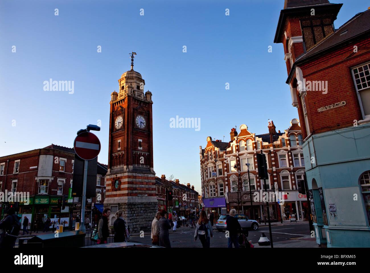 Crouch End Torre del Reloj, Crouch End Broadway, Londres Imagen De Stock