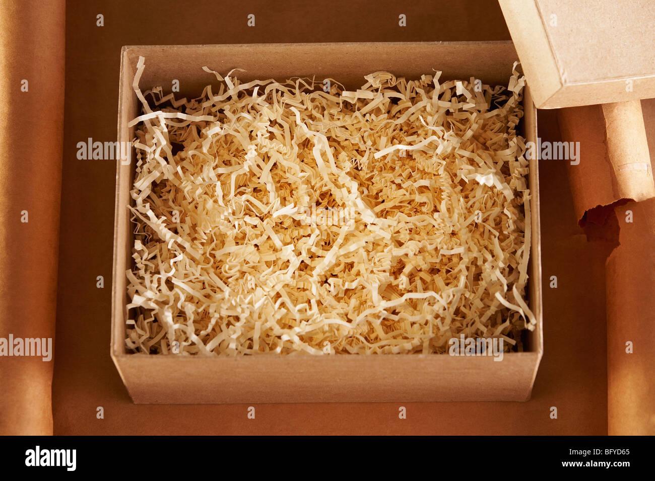 Vista aérea de una caja de cartón vacía Foto de stock