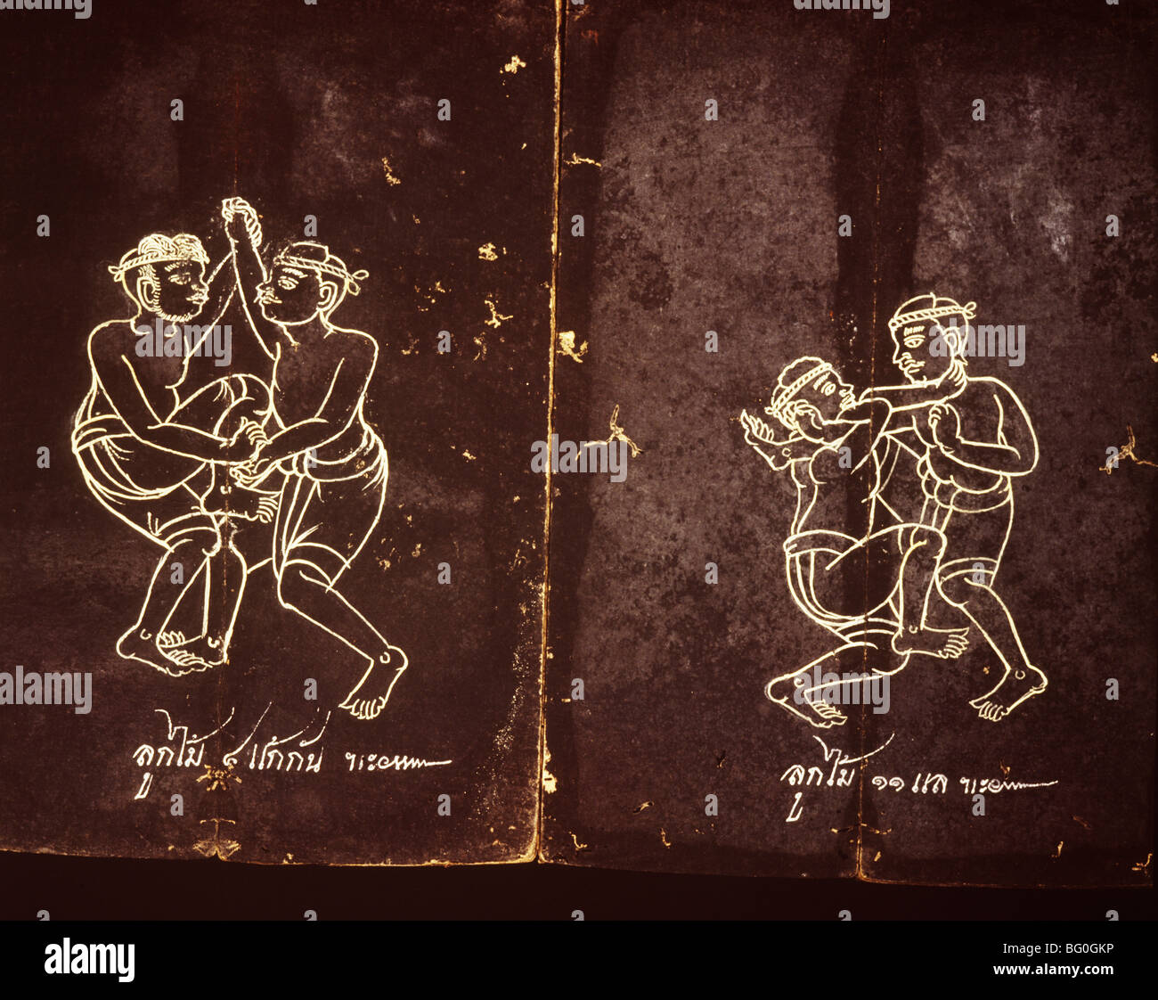 Manuscrito sobre el boxeo tailandés, Tailandia, el sudeste de Asia, Asia Imagen De Stock