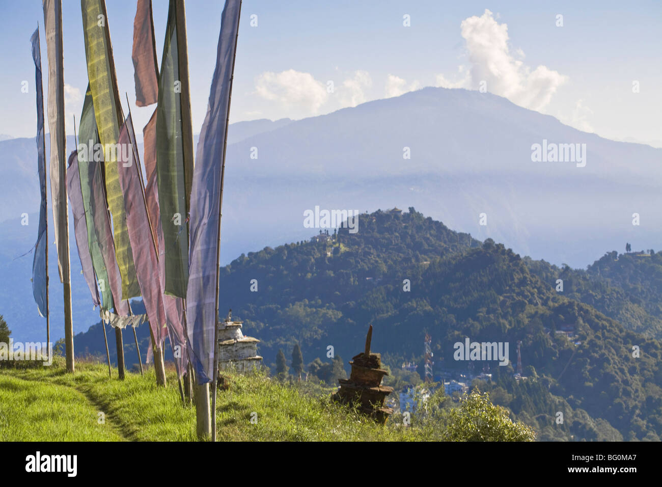 Sangachoeling Gompa Gompa, el segundo más antiguo de Sikkim, Pelling, Sikkim, India, Asia Foto de stock
