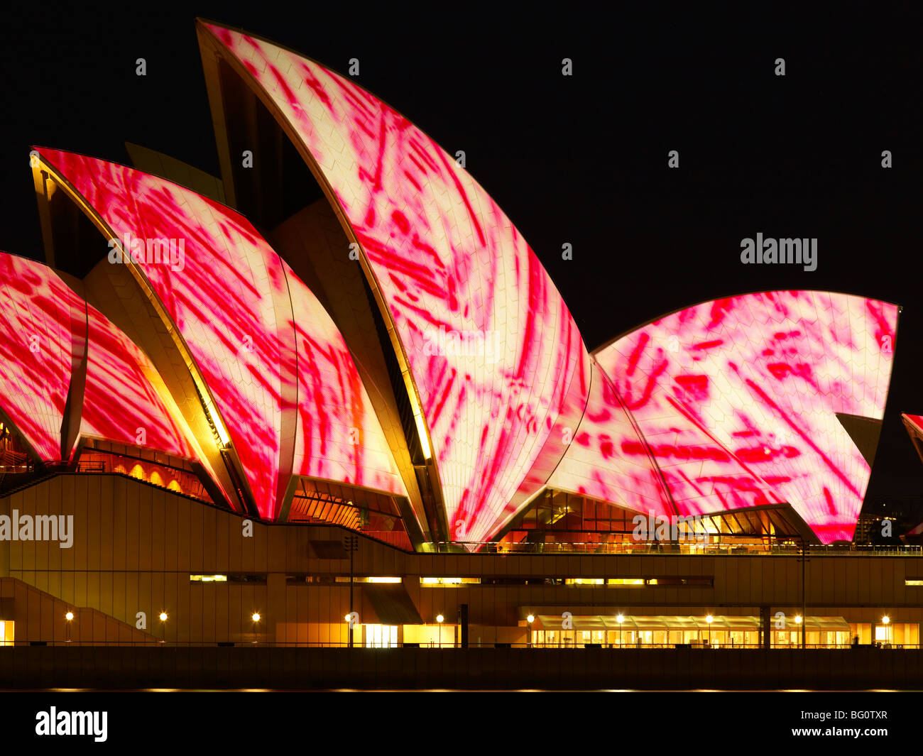 Festival de la luz, el Sydney Opera House, Sitio del Patrimonio Mundial de la UNESCO, Sydney, New South Wales, Australia, Imagen De Stock