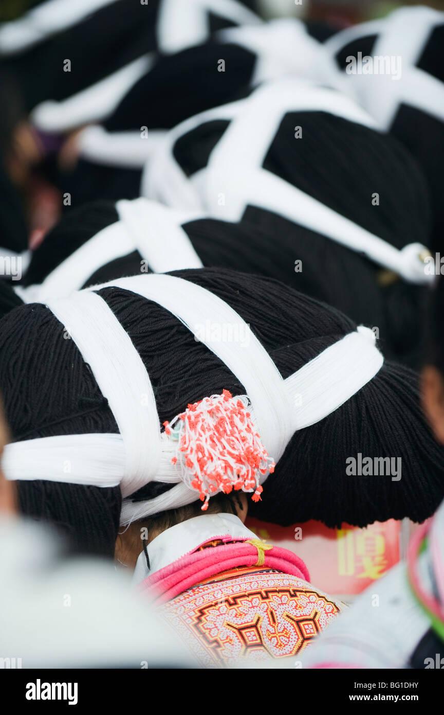 Long horn Miao las celebraciones de Año Nuevo lunar en Sugao étnica, pueblo de la provincia de Guizhou, Imagen De Stock