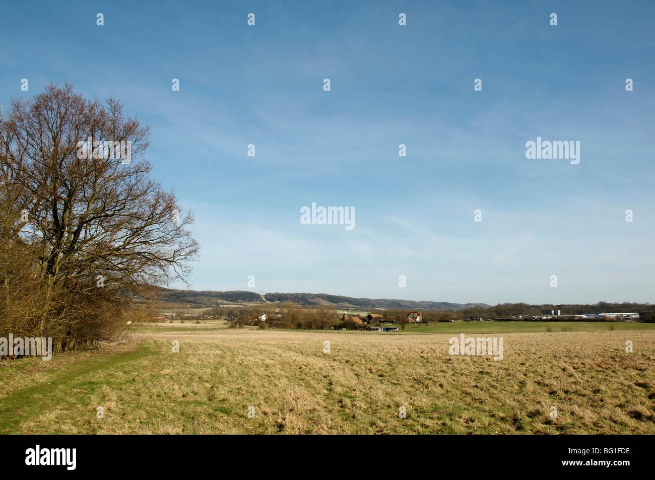 Una vista de un campo en el campo, con cielo azul Foto de stock