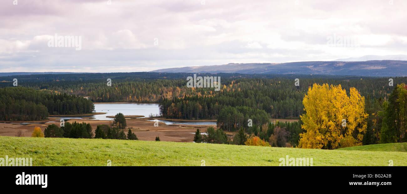Vistas sobre el valle del río y del paisaje agrícola y forestal y fjells con primera nieve Jämtland Imagen De Stock