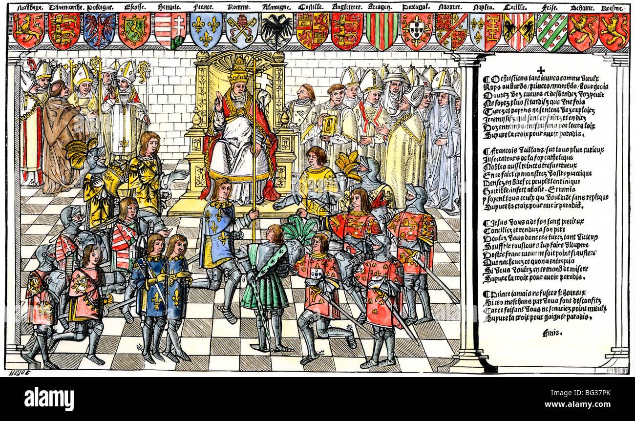 El papa Urbano II llama la primera cruzada en el concilio de Clermont, 1095. Xilografía coloreada a mano Foto de stock