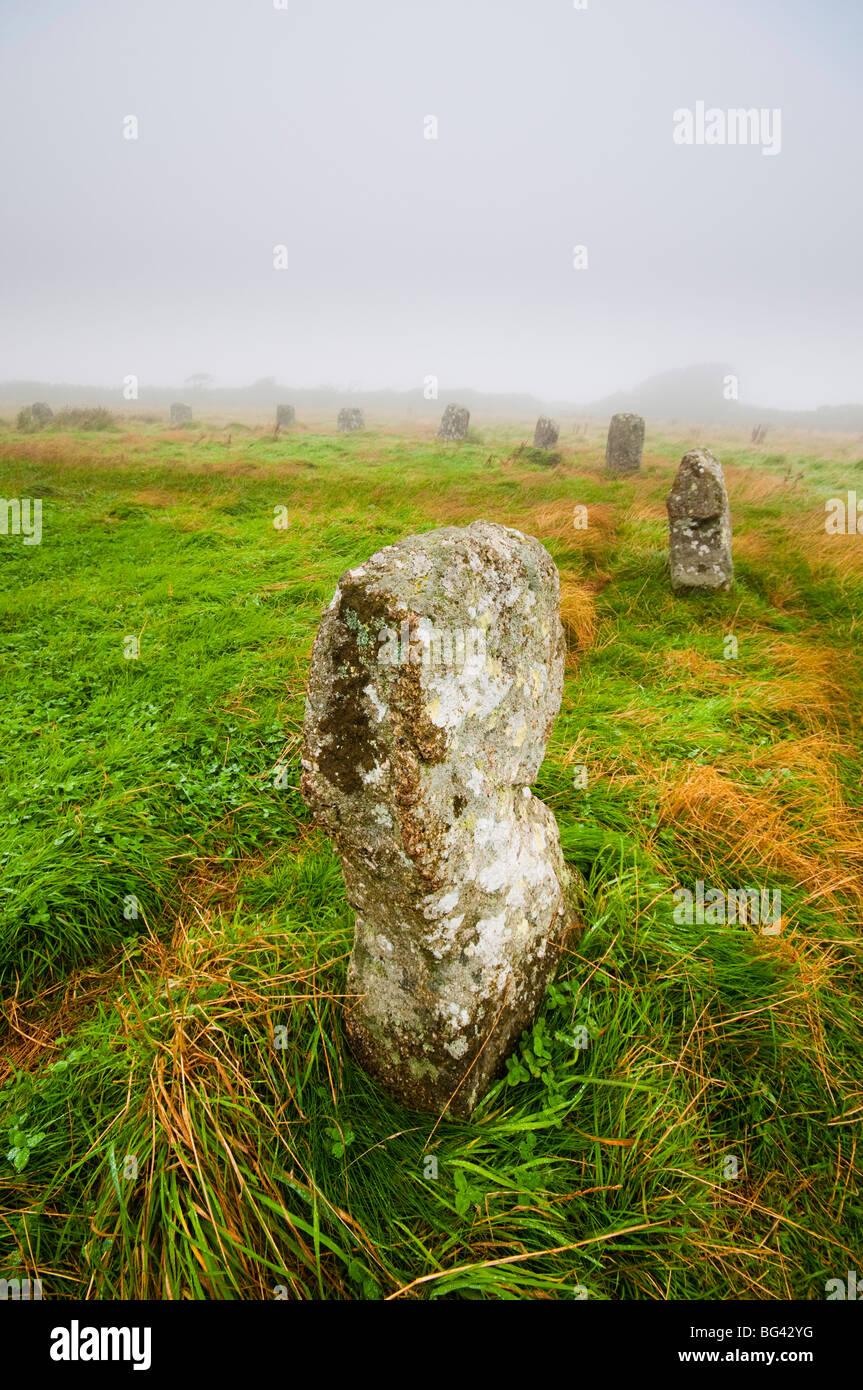 Reino Unido, Inglaterra, Cornwall, Feliz doncellas stone circle Imagen De Stock