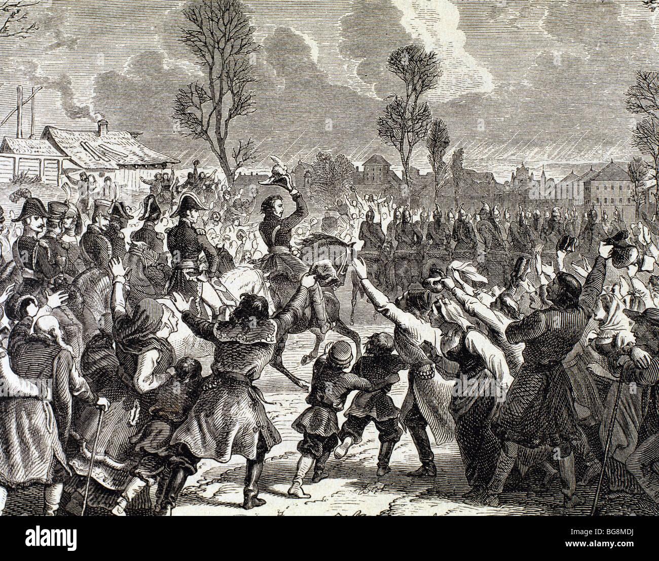 Las guerras napoleónicas. El entusiasmo de los polacos tras la llegada de las tropas francesas a Varsovia. Grabado. Foto de stock