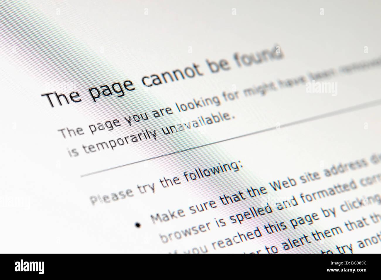 Error Página no encontrada Imagen De Stock