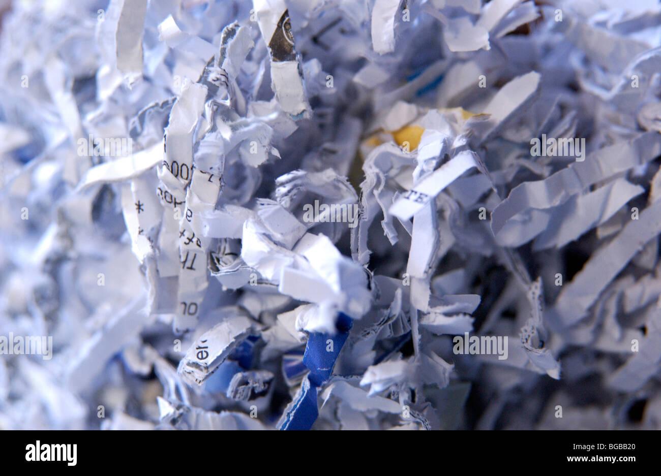 Fotografía de el papel desmenuzado documentos de identidad fraude privacidad Foto de stock