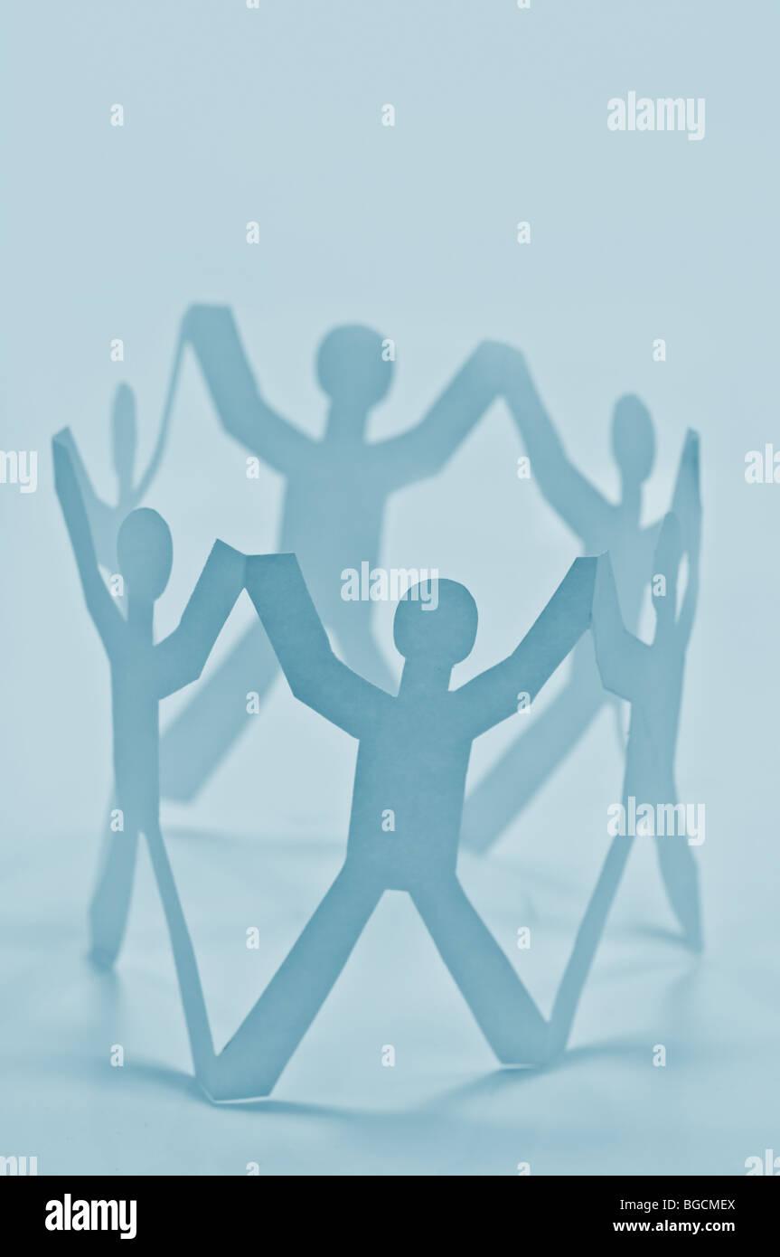 Concepto de trabajo en equipo de papel Imagen De Stock