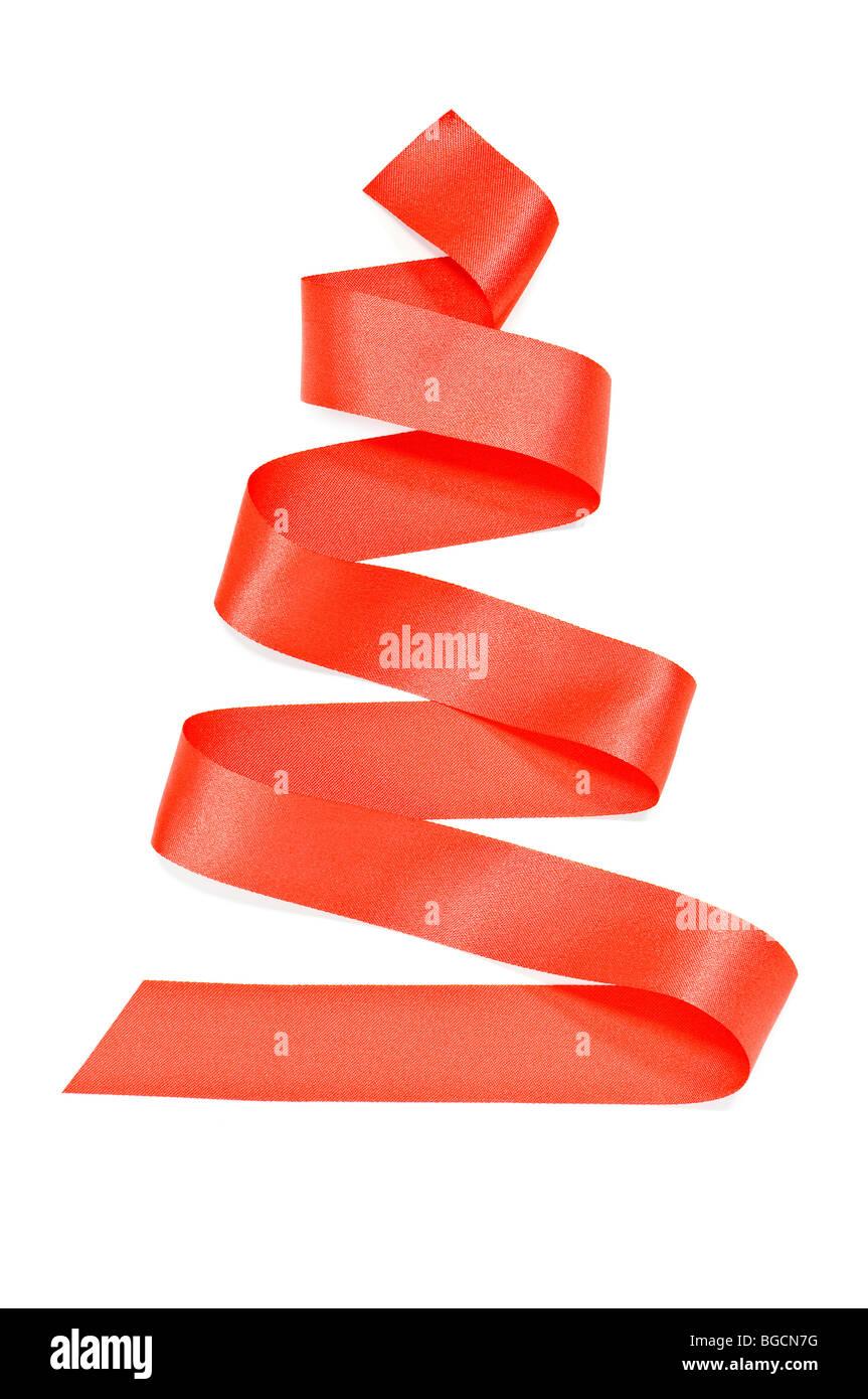 La cinta roja como abeto aislado Imagen De Stock