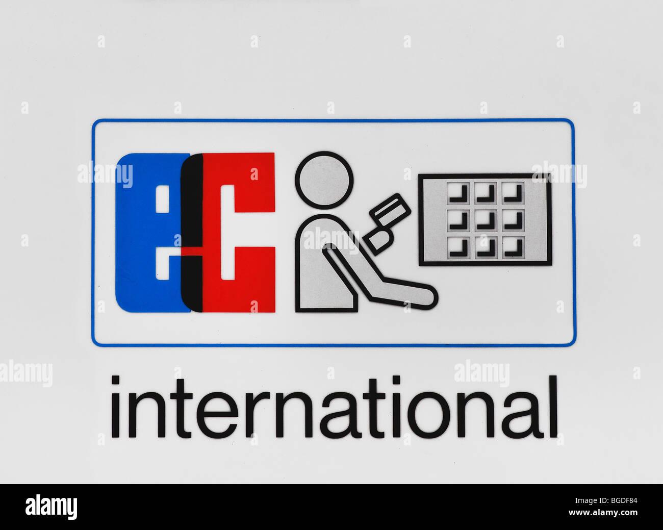 Signo de la CE, las transacciones financieras internacionales con tarjetas de efectivo, el pictograma. Imagen De Stock