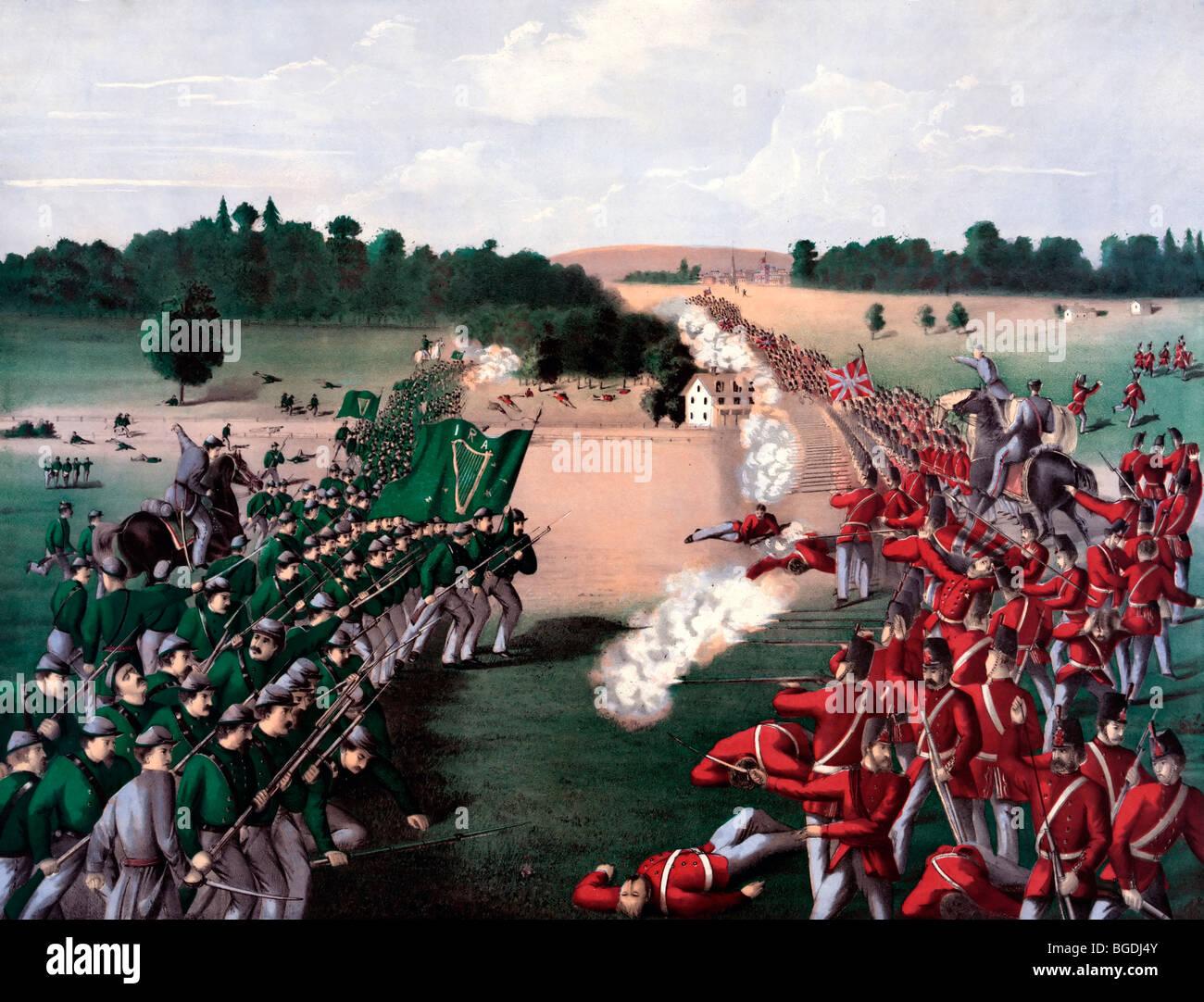 La batalla de Ridgeway, 2 de junio de 1866, cerca de Ontario, Canadá Foto de stock