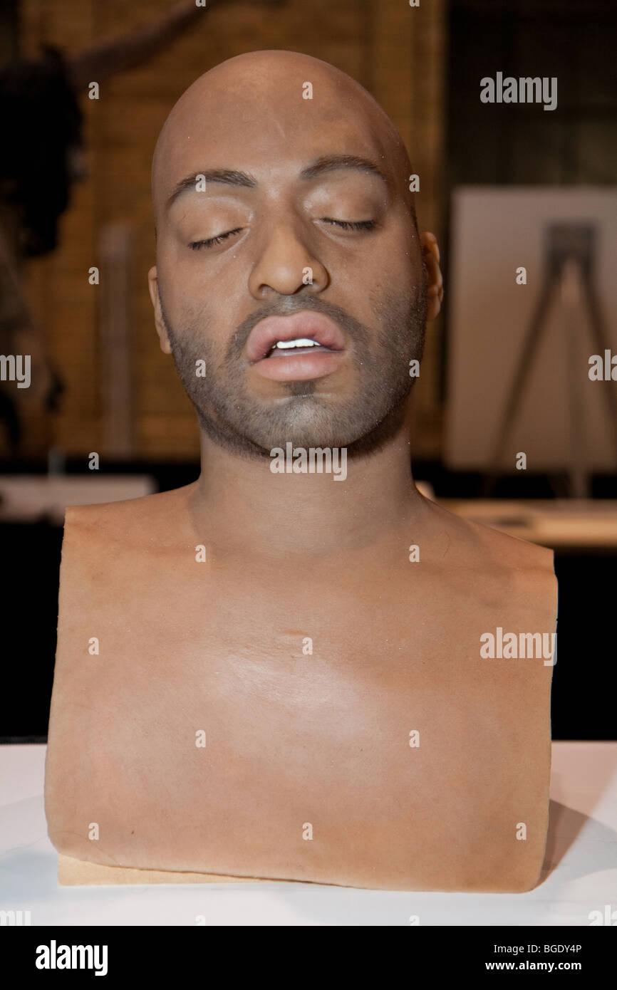 Cabeza humana realista escultura en la Feria Internacional de maquillaje artista (IMATS) 2009 Toronto Imagen De Stock