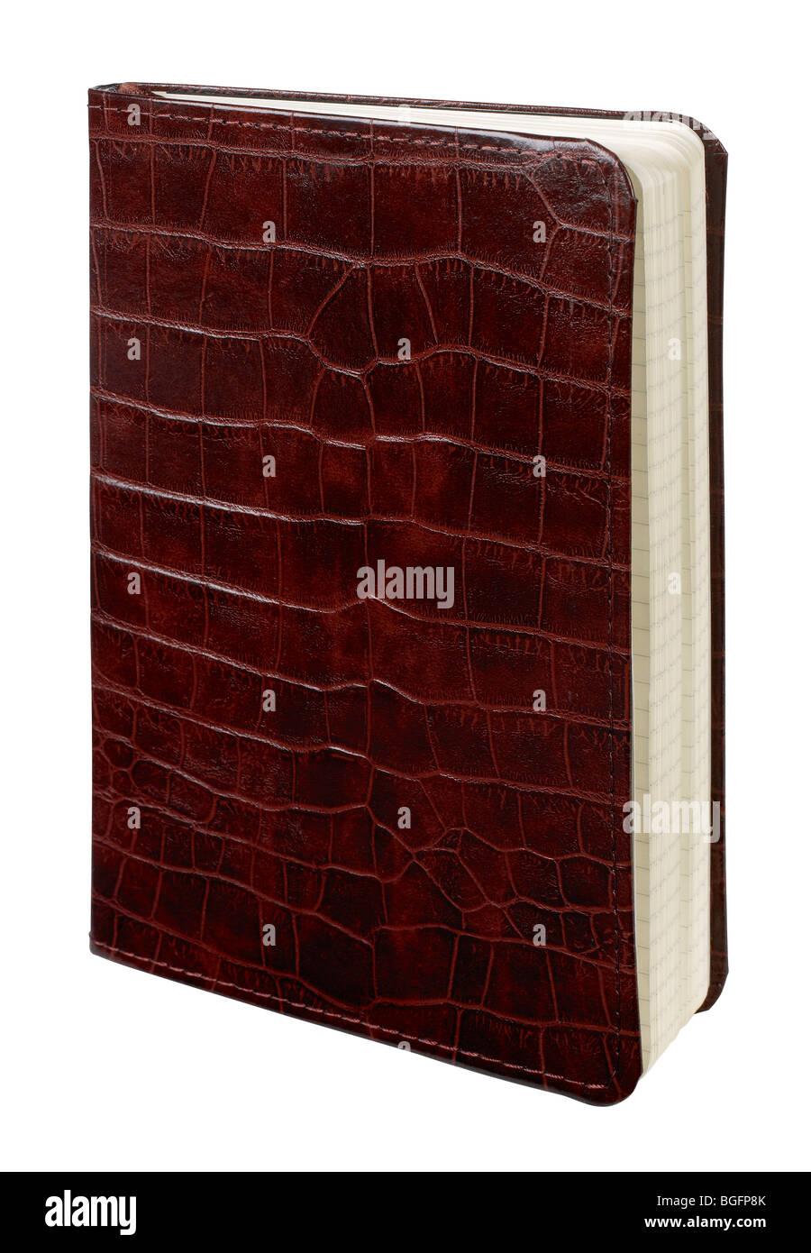 Enlazado de cuero marrón con textura de cocodrilo libro diario libro diario Imagen De Stock