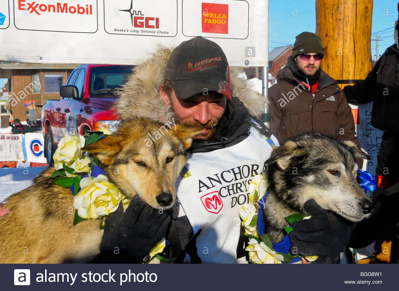 Lance Mackey, sentado con sus perros guía Maple y Larry justo después de ganar la carrera Iditarod, Nome, Imagen De Stock