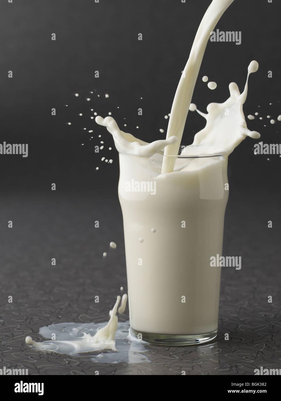 Verter la leche en el vaso sobre fondo gris Imagen De Stock