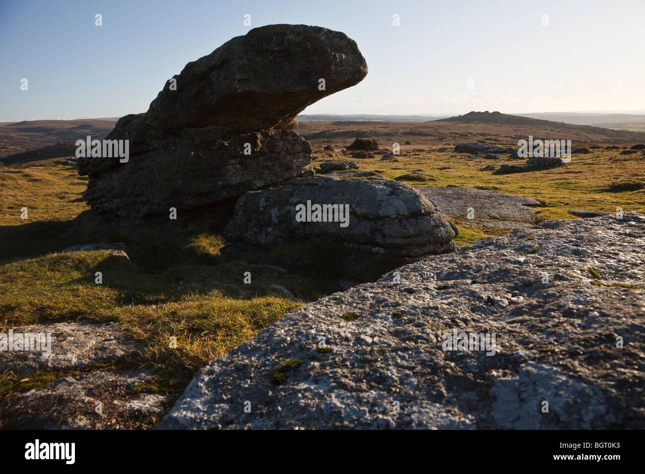 Bloques de granito en Whitchurch común y vista hacia Heckwood Tor, Dartmoor. Imagen De Stock