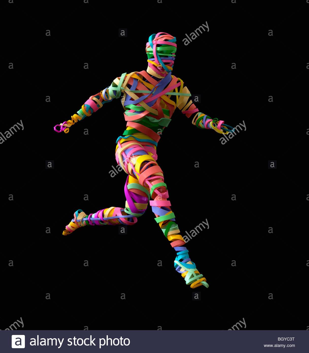 Persona formada por bandas de goma Imagen De Stock