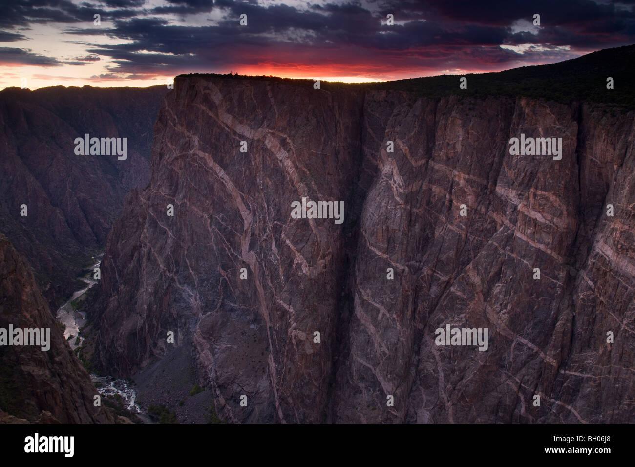 La pintura en la pared, Black Canyon del Parque Nacional Gunnison, Colorado. Imagen De Stock