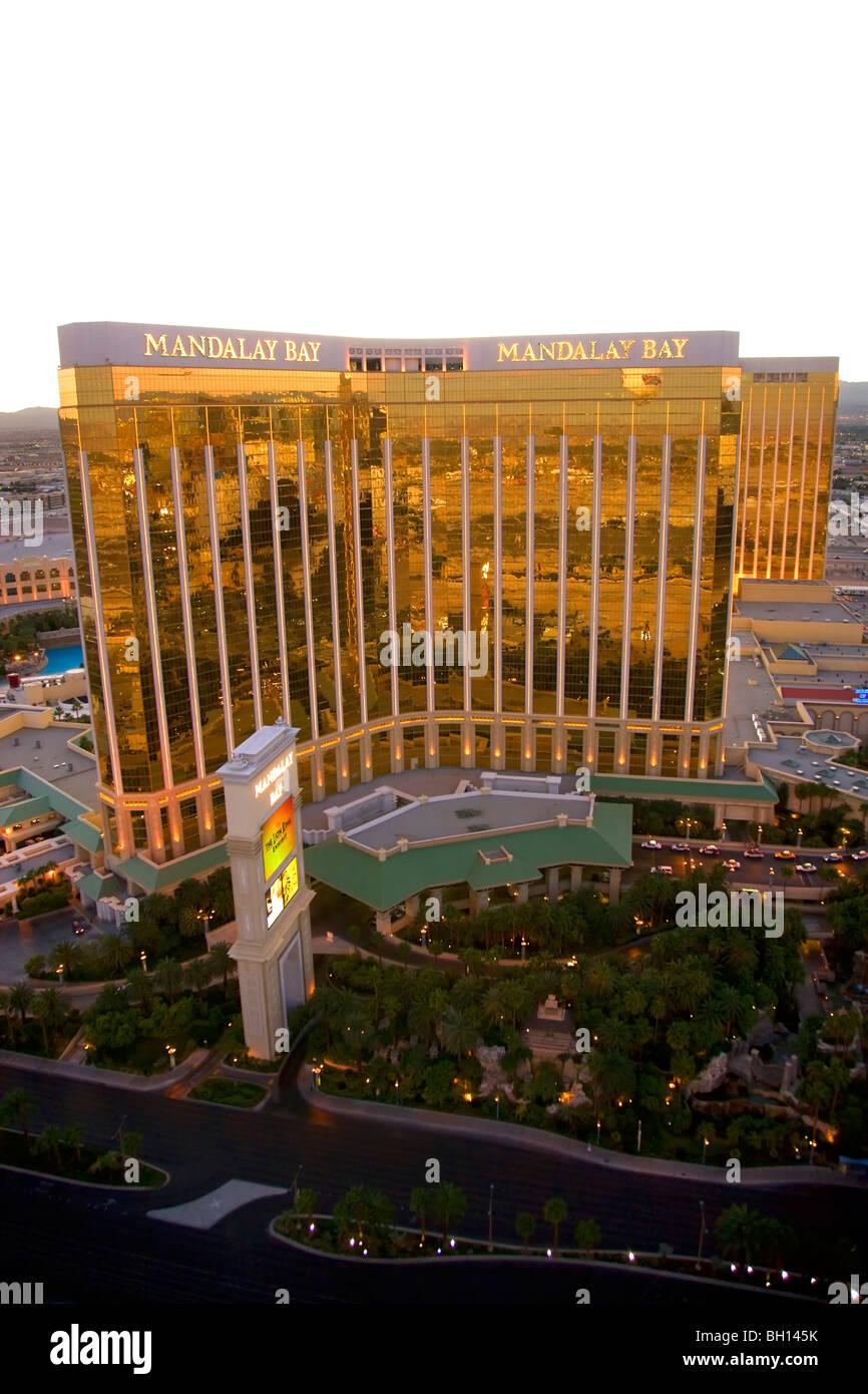 Vista aérea del Mandalay Bay, Las Vegas, Nevada. Foto de stock