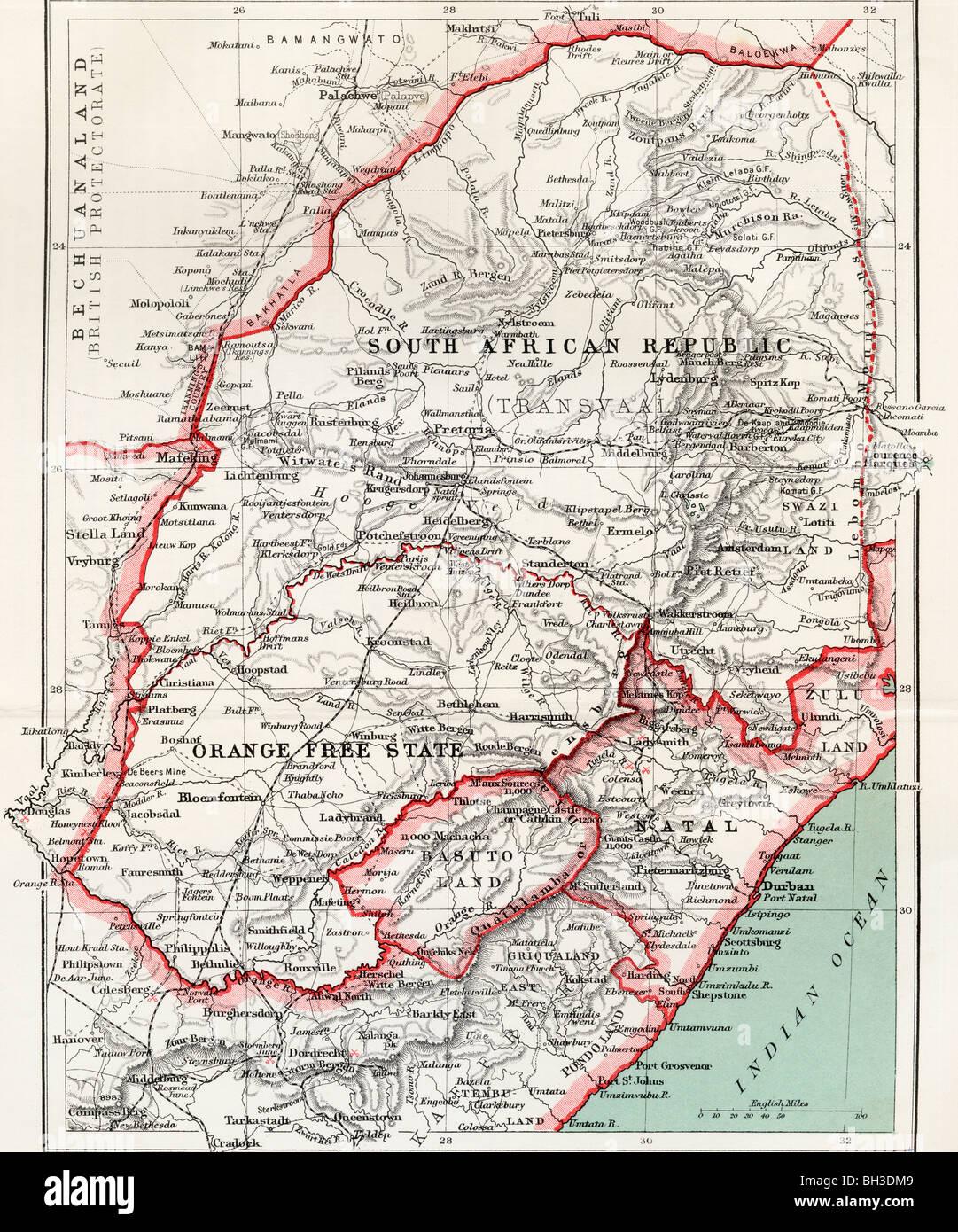 Mapa de República Sudafricana, el Estado Libre de Orange y Natal, circa 1900. Foto de stock