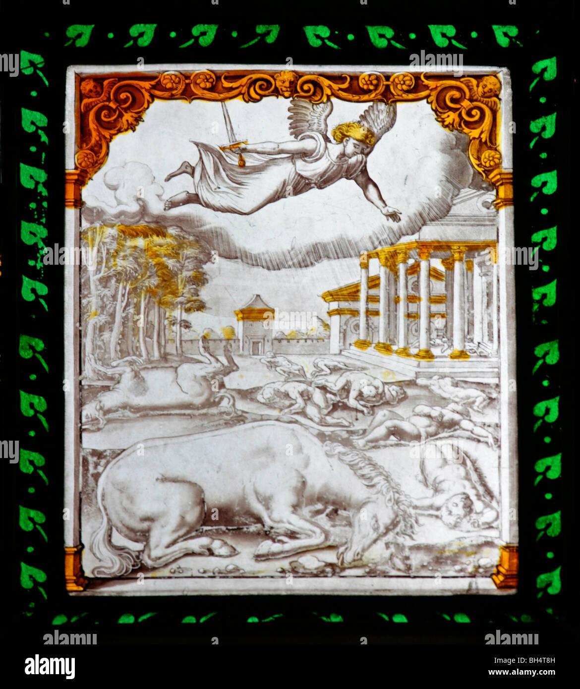 Un italiano del siglo XVI vidriera que representa la destrucción del primer nacido, todos del Santo de la Iglesia, Foto de stock