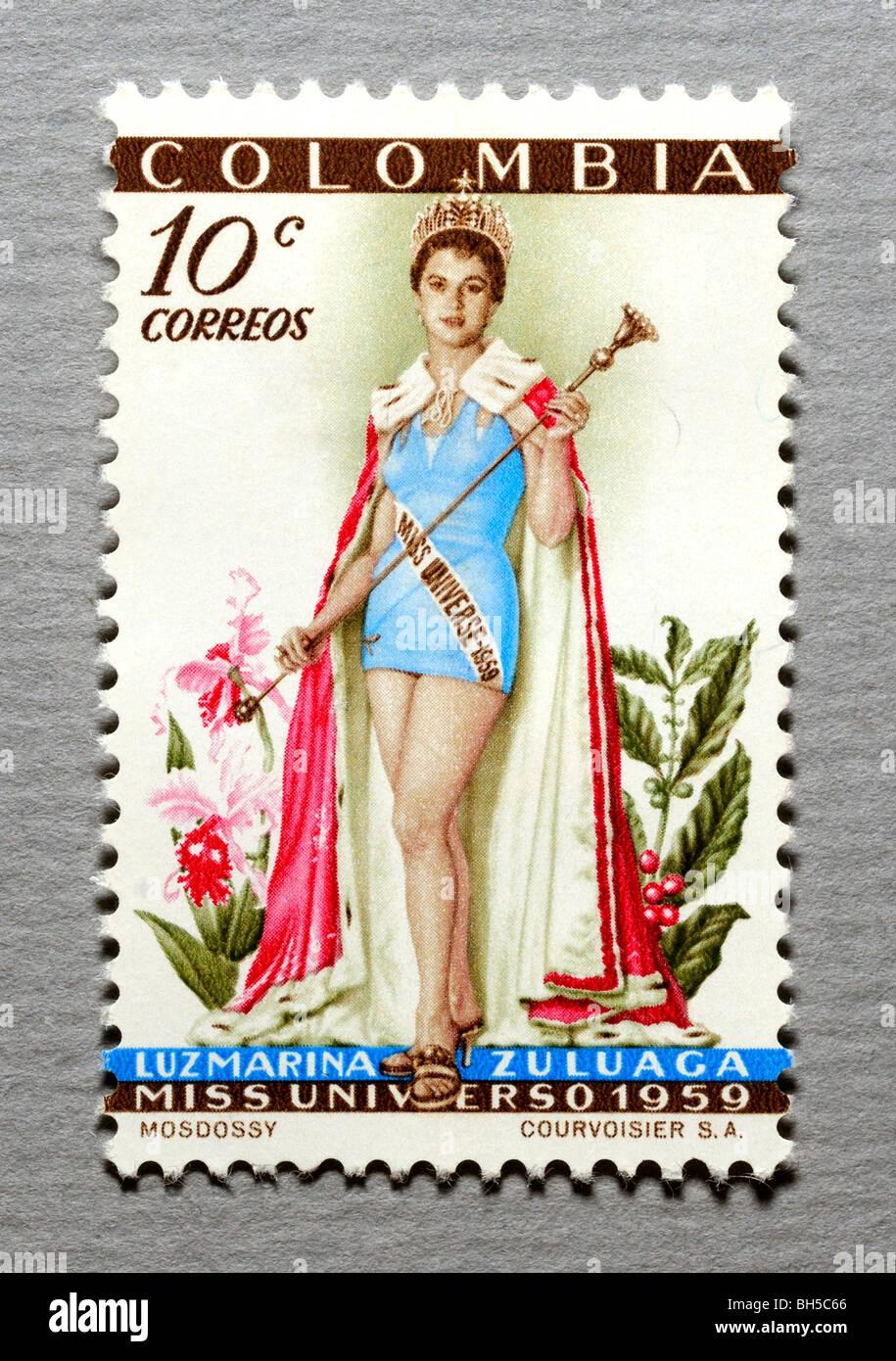 Colombia Estampilla Postal. Imagen De Stock