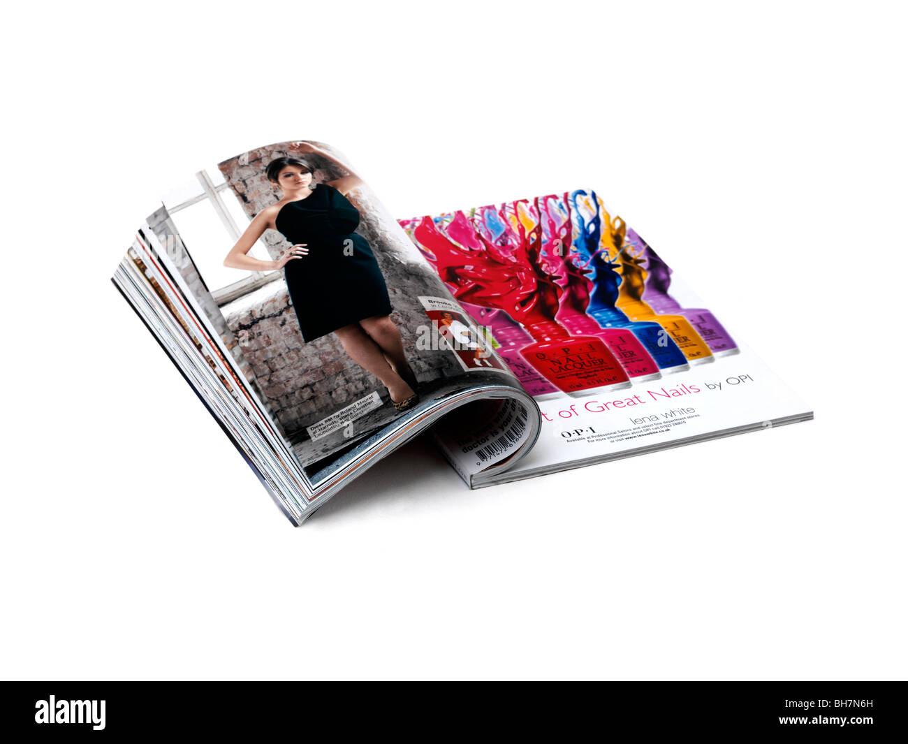 Una revista abierta Foto de stock