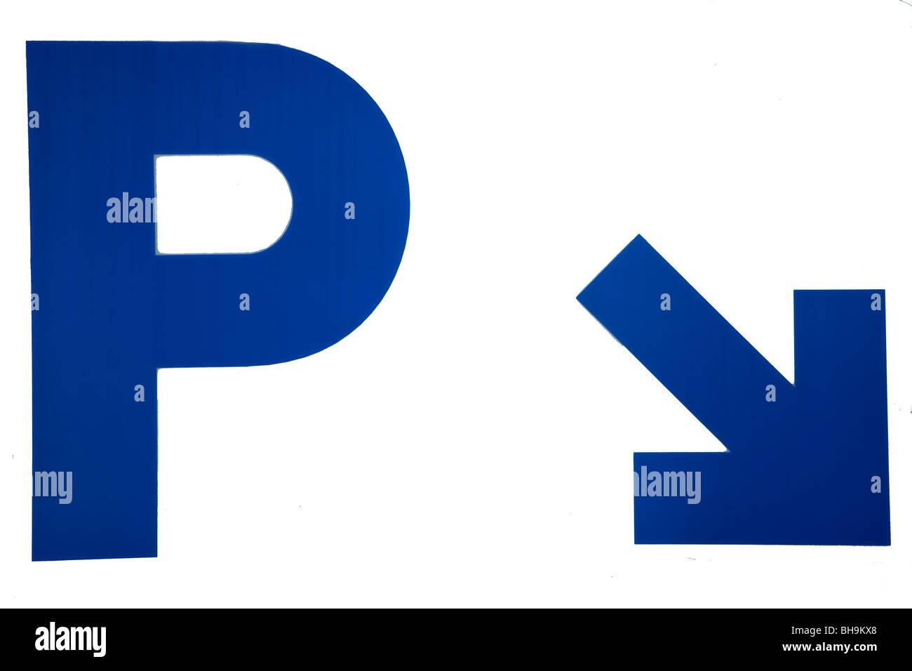 Marcar,Parking,blue,carta,flecha, Imagen De Stock