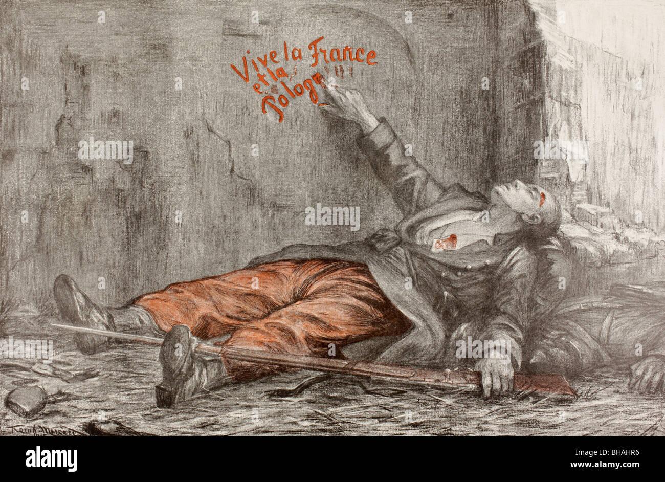La muerte de un voluntario polaco. Dibujo de propaganda emitida durante la Primera Guerra Mundial. Foto de stock