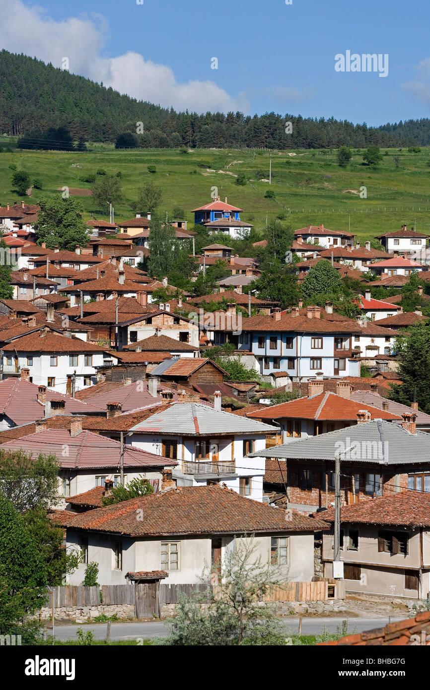 Bulgaria,Koprivchtitsa,Koprivstica,casas típicas Foto de stock