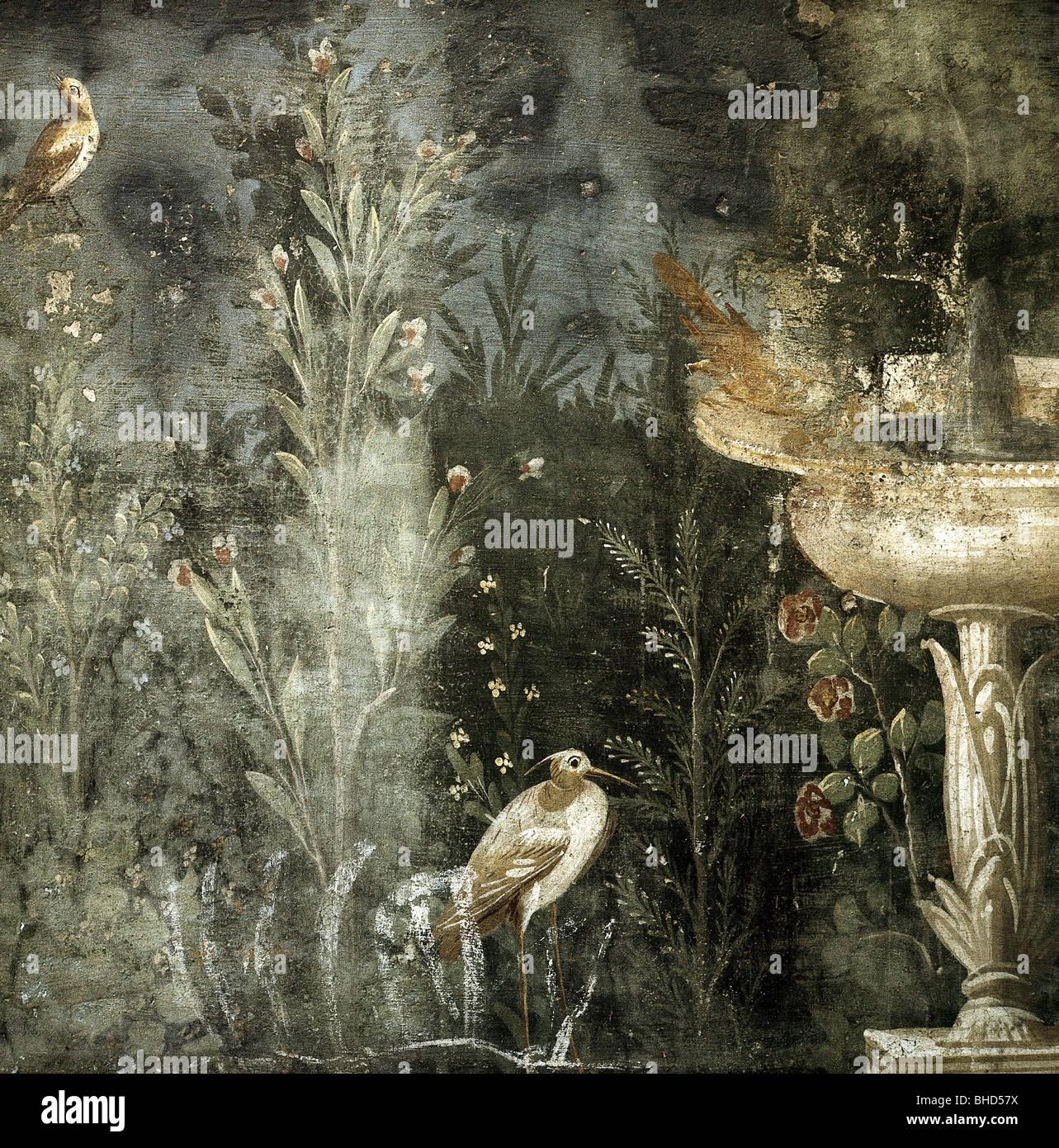 Bellas artes, Mundo Antiguo Imperio romano, Pompeya, detalle de un fresco, jardín escena, Casa de Venus, Italia, Foto de stock
