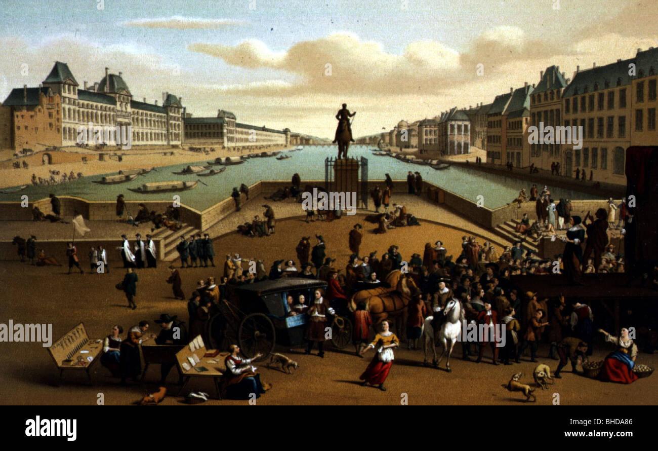 Geografía / viajes, Francia, París, Pont Neuf, siglo 17, después de la pintura contemporánea, cromolitógrafo de Gaulard, alrededor de 1880, Foto de stock