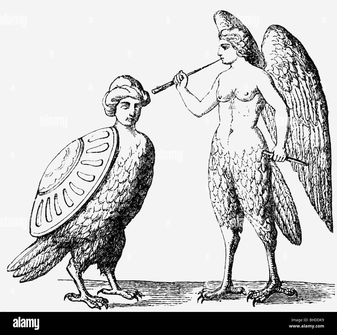Arpías, criaturas míticas griegas (mitad mujer, mitad pájaro) grabado en madera, del siglo xix, Additional Imagen De Stock