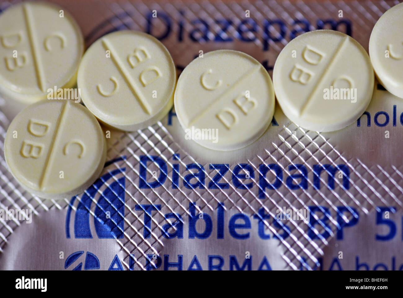 Tabletas de diazepam Foto de stock