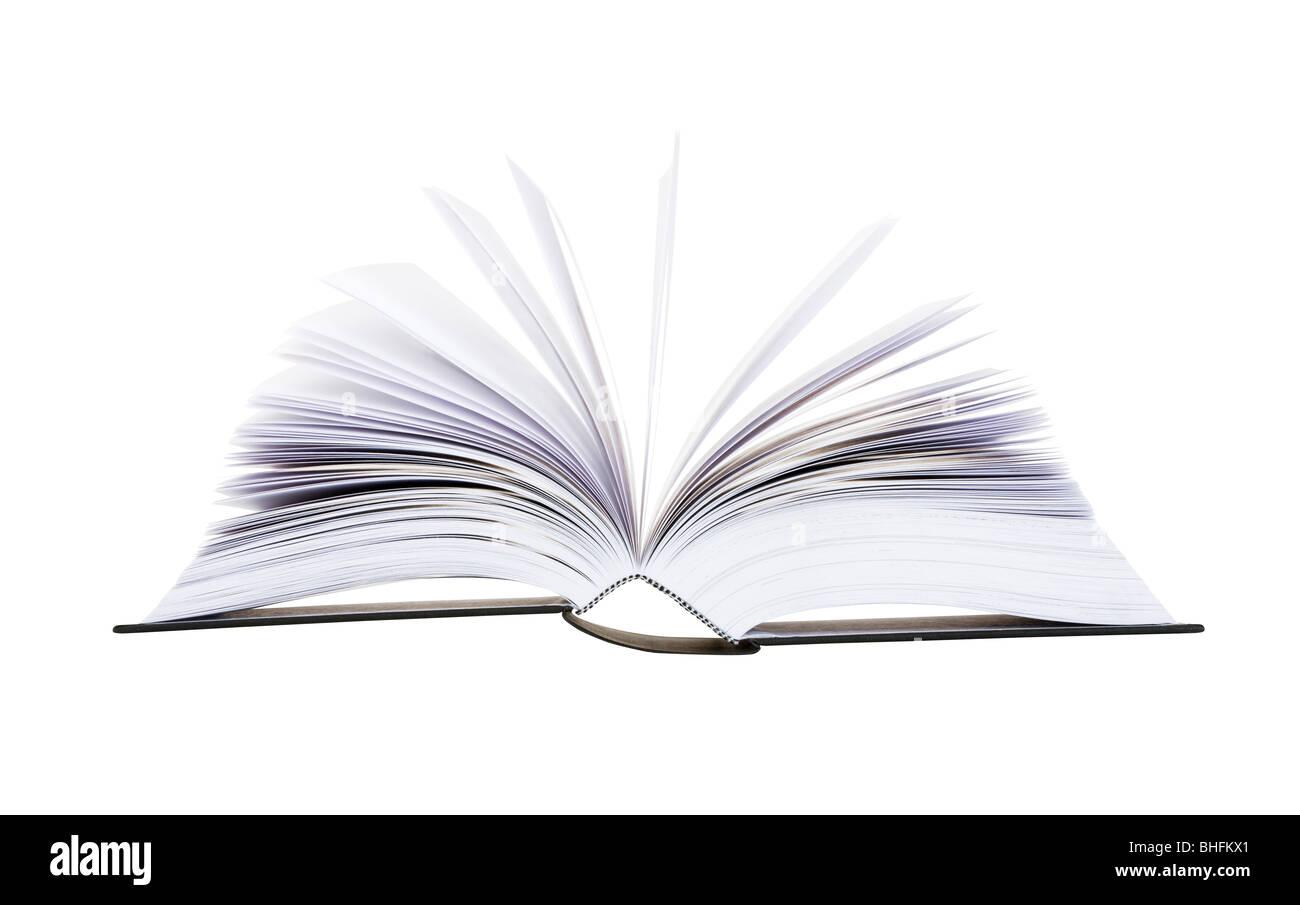 Gran libro abierto con las páginas voltear aislado sobre fondo blanco. Imagen De Stock