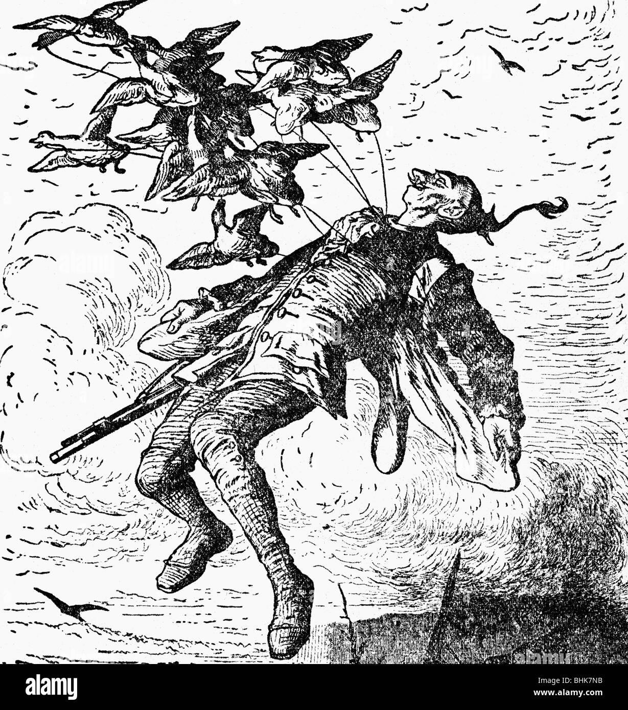 Munchhausen, Karl Friedrich Hieronymus von, 11.5.1720 - 22.2.1797, oficial alemán, aventuras, es levantado en el aire por los patos, grabado de madera, 1874, , Foto de stock