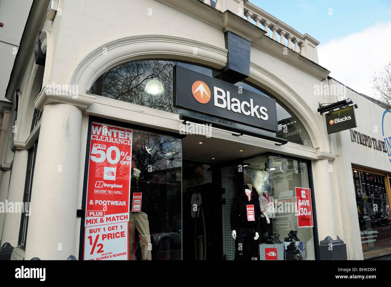 Los negros tienda de equipamiento exterior Islington, Londres, Inglaterra Imagen De Stock