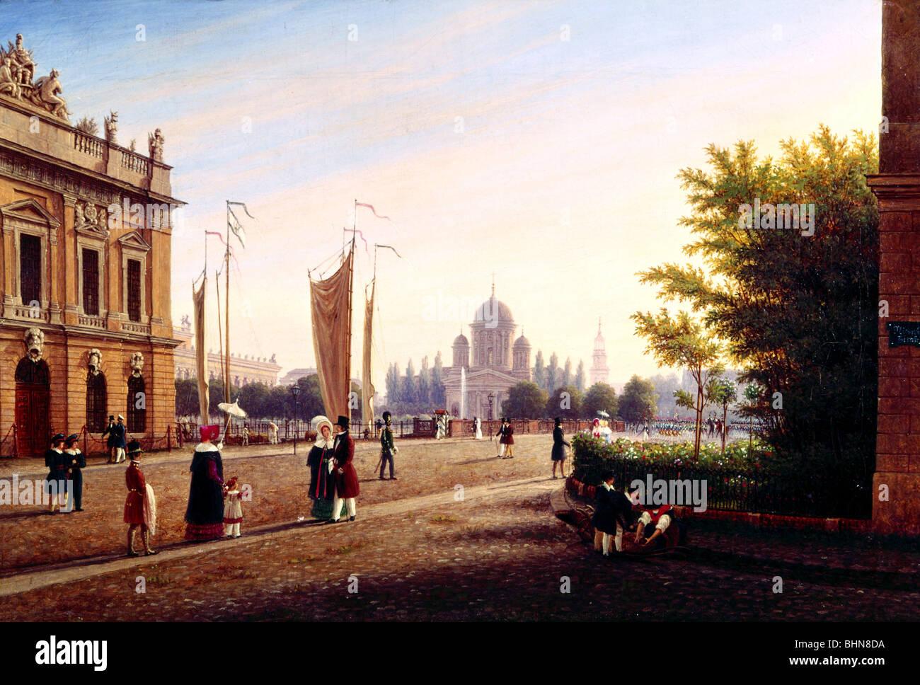 Geografía / viajes, Alemania, Berlín, puente Schlossbruecke, pintura 'Berliner Dom Schlossbruecke Imagen De Stock