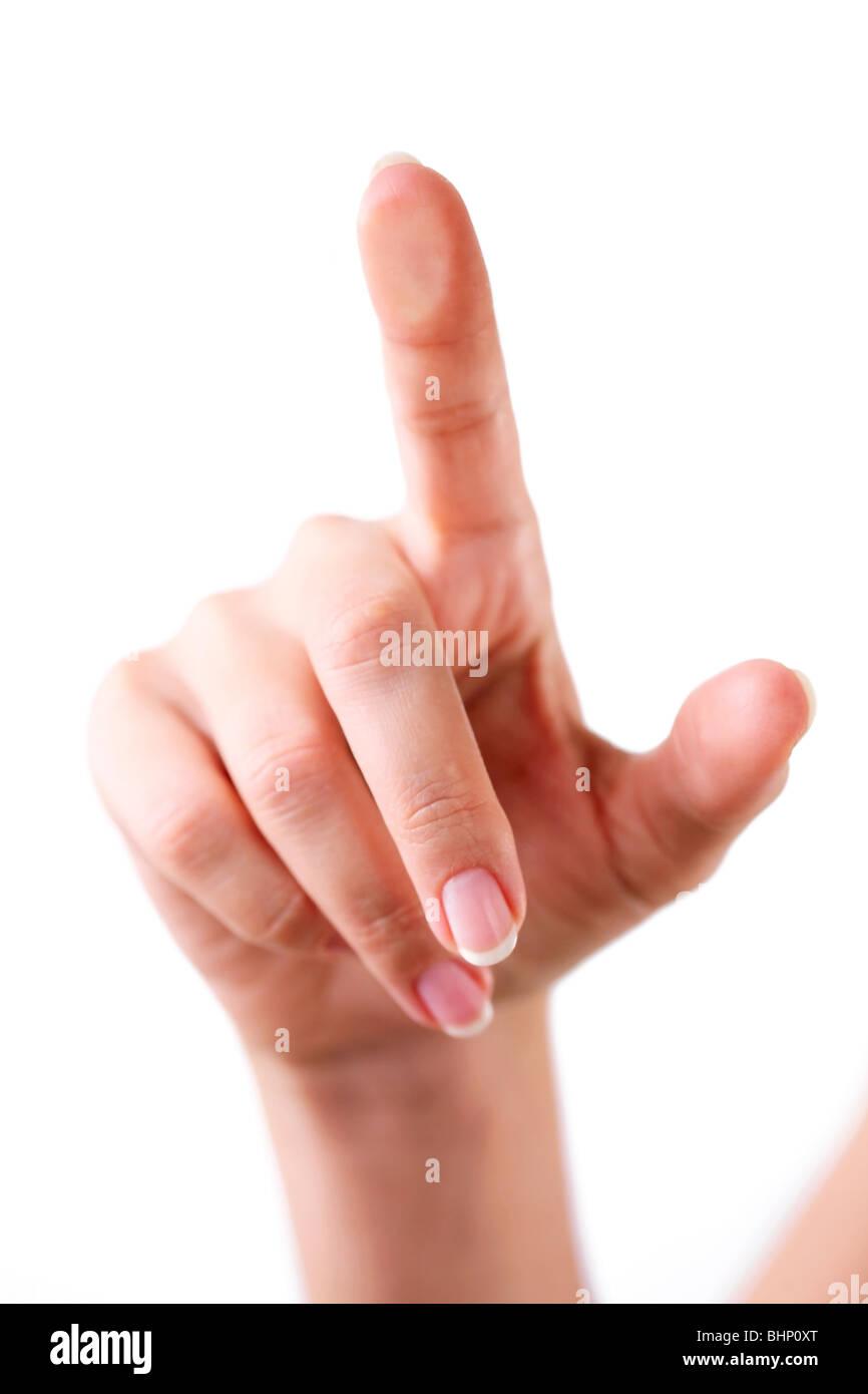 Tocar el cristal con los dedos. Imagen De Stock