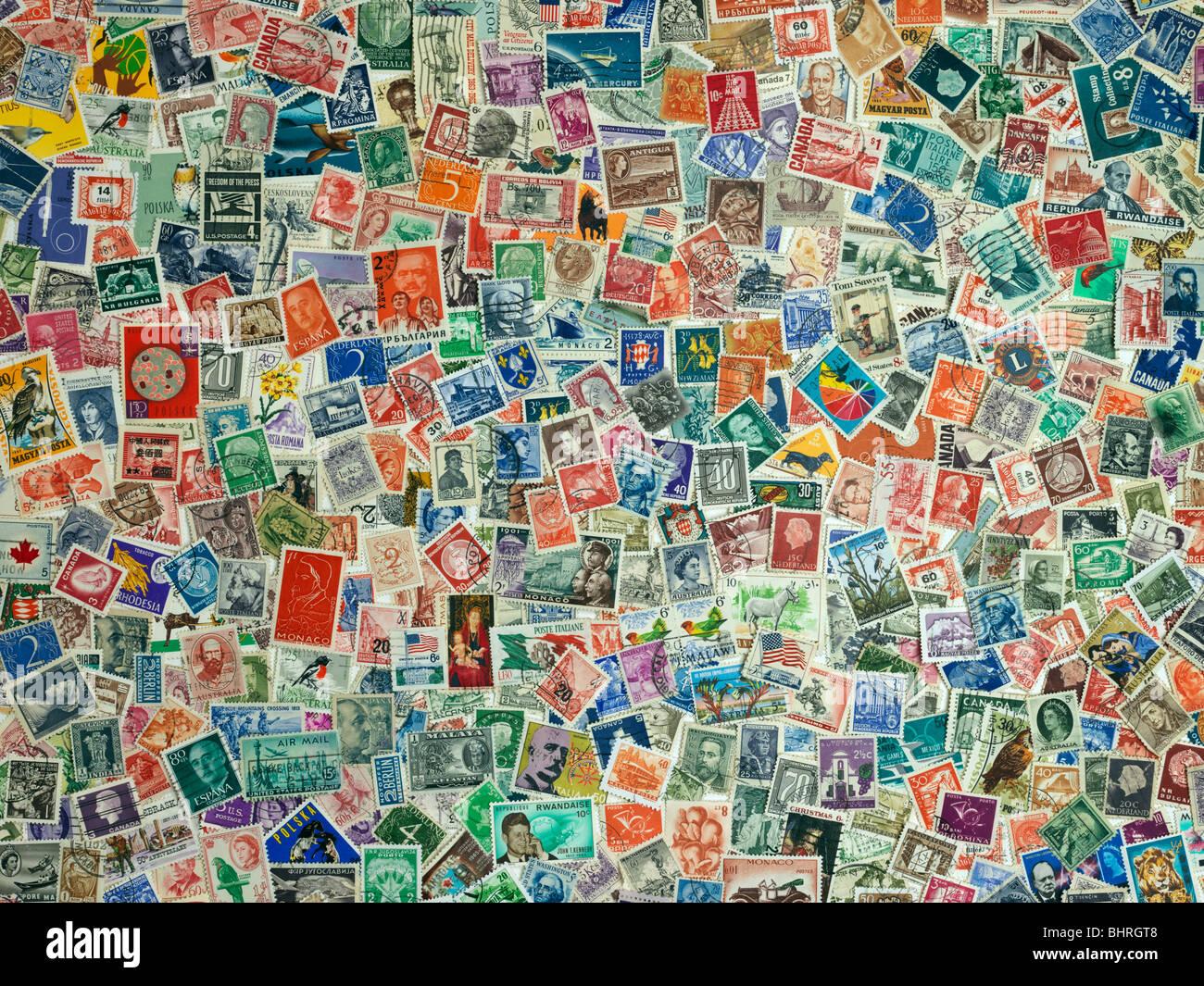 Sellos internacionales del mundo, todavía la vida colección Imagen De Stock
