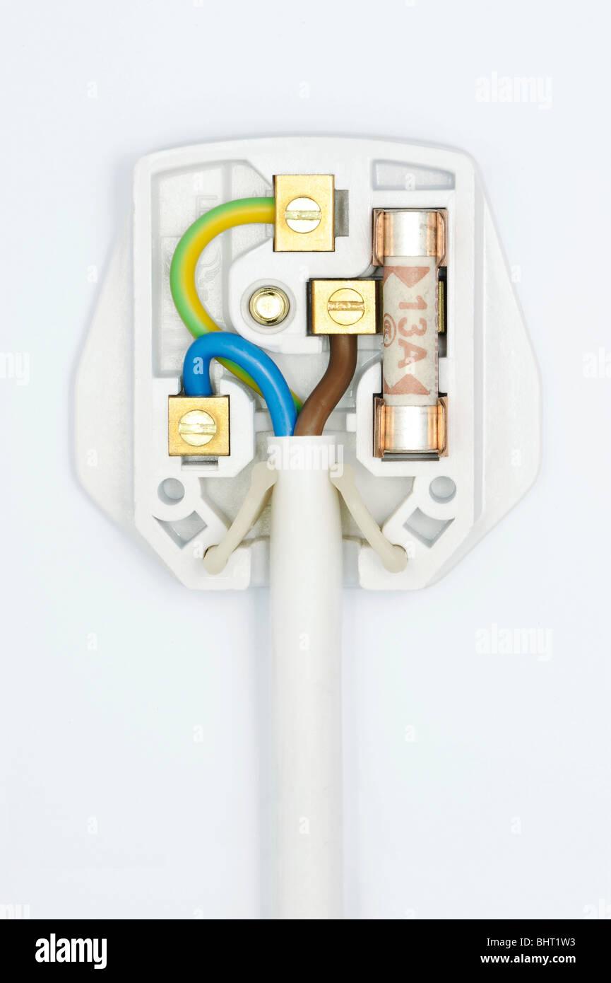 Un tapón que muestra el cableado interior Imagen De Stock