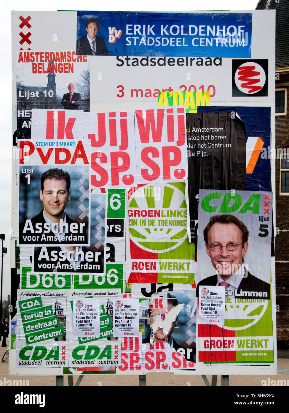 Amsterdam Holanda Holanda candidato político electoral encuestas Foto de stock