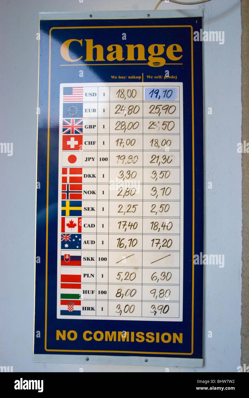 Cambio de divisas junta Praga República Checa Europa Foto de stock