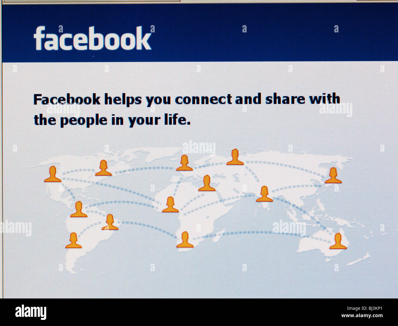 Sitio en internet de la red social facebook homepage close-up Imagen De Stock
