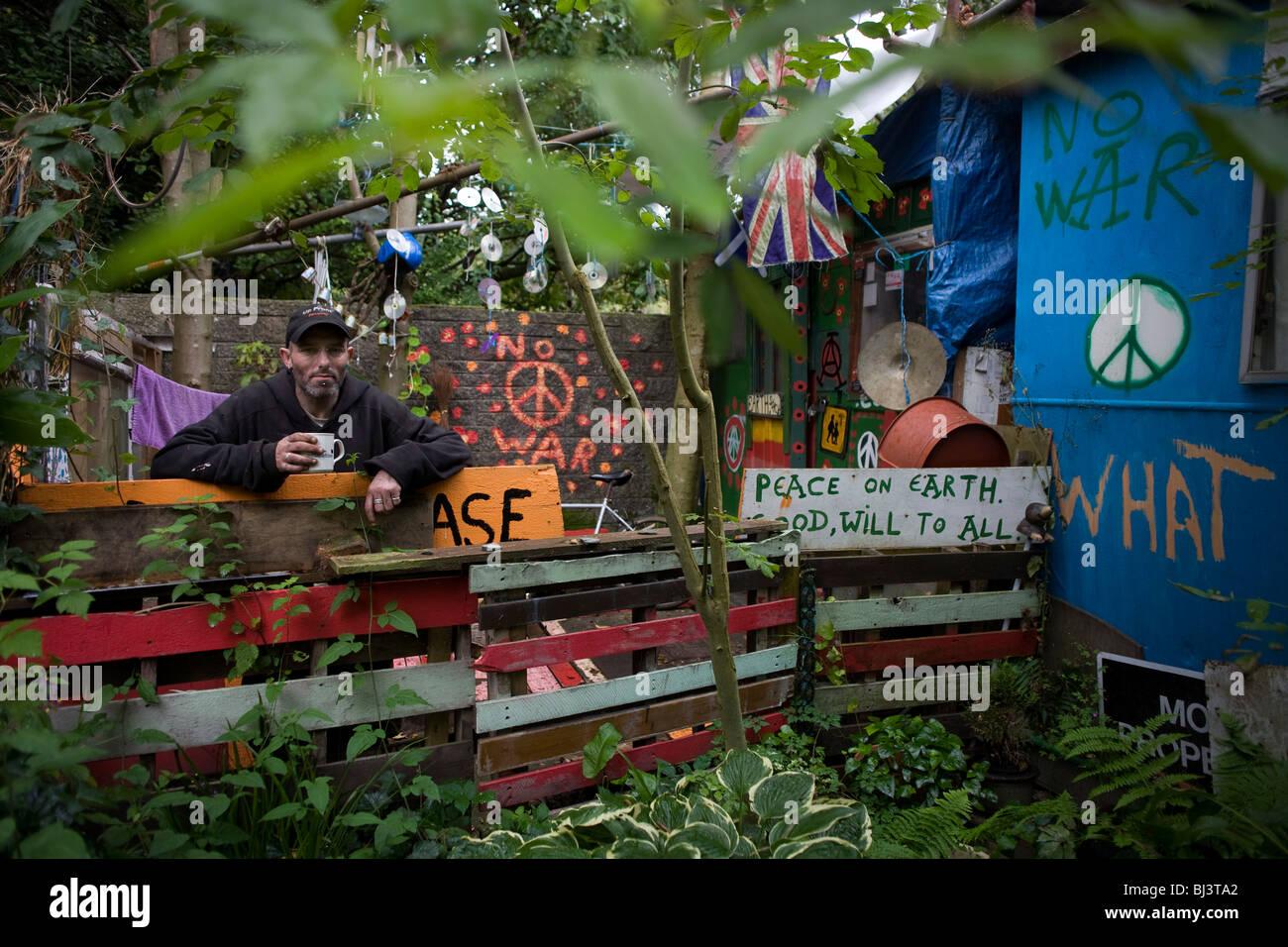David Reynolds (aka Eco) es un activista de larga duración, activista en el movimiento por la paz de Faslane Imagen De Stock