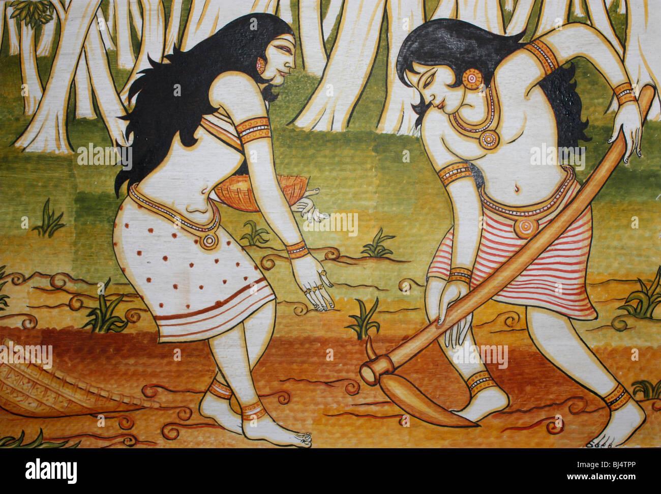 Un cuadro pintado en la pared que muestra la cultura típica de la etnia india Imagen De Stock